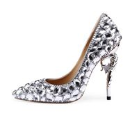 Women shoes Genuine leather high heels Silver Female wedding shoe strange heels crystal rhinestone pumps 2019 bride Luxury shoe