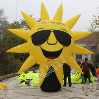4m Smiley Sun Inflatable Balloon Cool Cartoon Sun With Glasses for Advertising Balloon Giant Sunshine Model with Blower