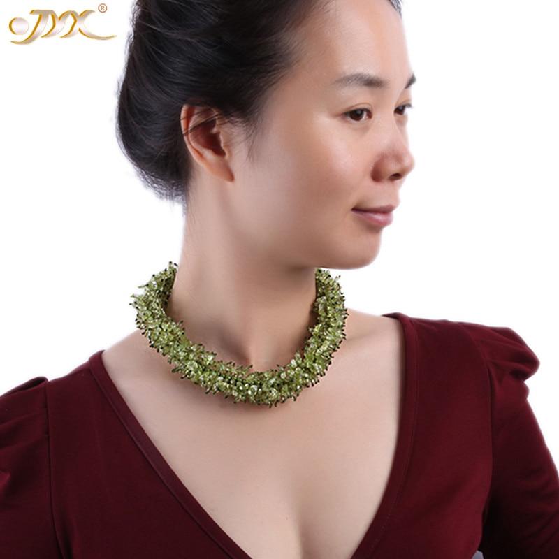 JYX classique naturel Chunky péridot collier minuscule irrégulière vert péridot choker 18