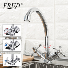 FRUD Kitchen Faucet Chrome plated J Letter Design 360 Degree Rotation with Water Purification Features Double Handle