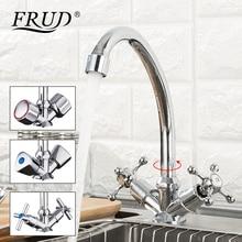 Torneira de cozinha frud cromada, design de letras j, rotação de 360 graus com características de purificação de água, alça dupla
