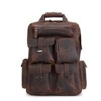 First layer cowhid laptop backpack Large Capacity Vintage Leather Schoolbag waterproof antitheft backpacks travel bags