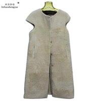 Linhaoshengyue Fashion women Sheep's cashmere fur vest Real fur big shoulder