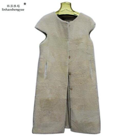 Linhaoshengyue  Fashion women Sheeps cashmere fur vest Real big shoulder