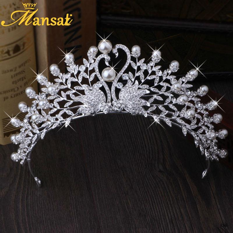 Charm Rhinestone Swan Tiara Big Crystal Bridal Crown Women Vintage Headpiece Pearl Wedding Hairwear Tiara De Noiva Jewelry HG158