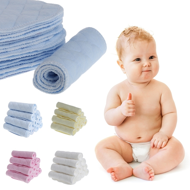 10Pcs Reusable Baby Cotton Blend Cloth Diaper Newborn Soft Nappy Insert 3 Layers