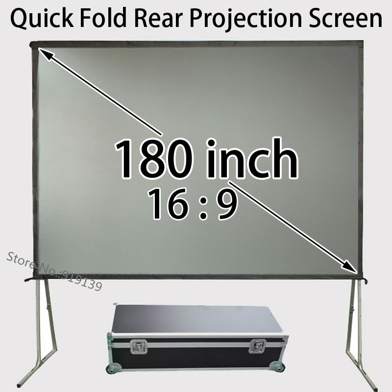 Durable Fast Folding 180-inch Projection Screen Rear Fabric With Travel Carry Case For Big Party Show hot selling 84 inch 16 9 format fast quick fold projector screen for many size front and rear projection screen