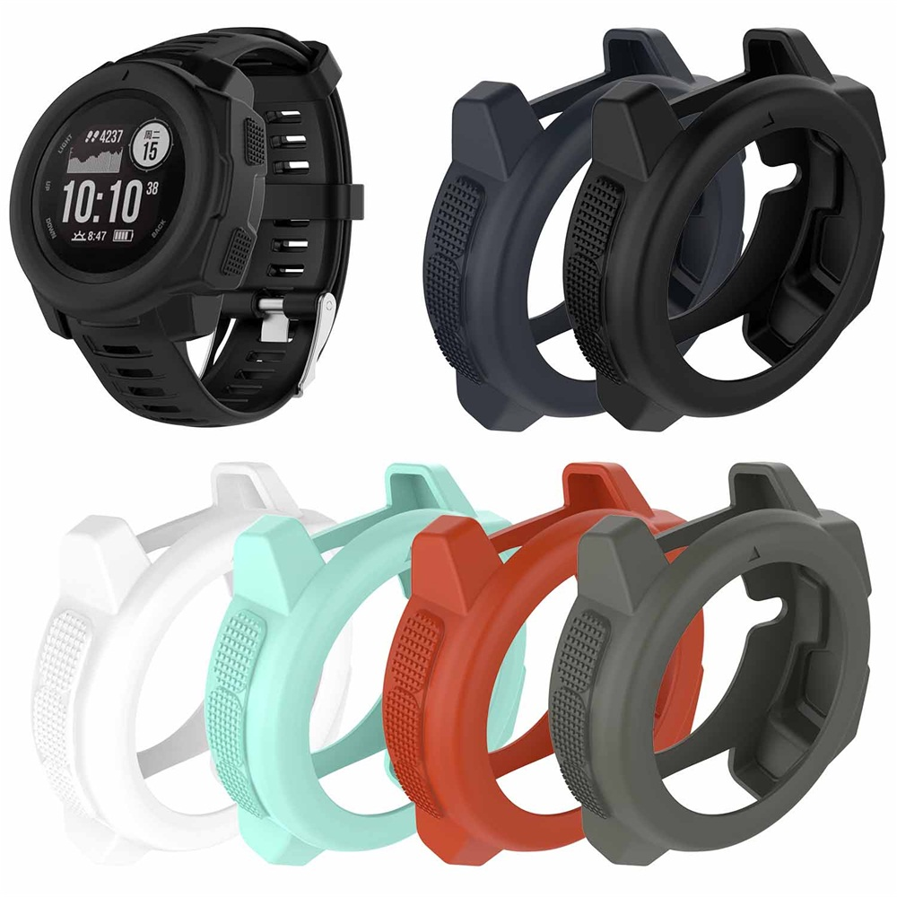 6 Colors Light-weight Soft Silicone Case Skin Protector Case Cover Watch Band Wristband 22mm Strap For Garmin Instinct