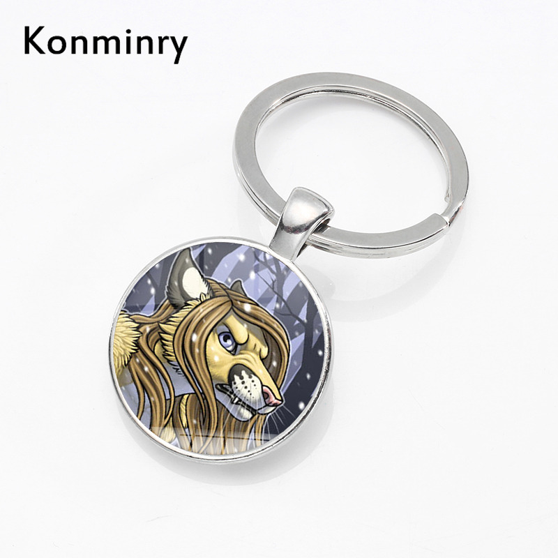 Konminry Pet Dog Mouse Unique Key Chain Holder Art Drawing