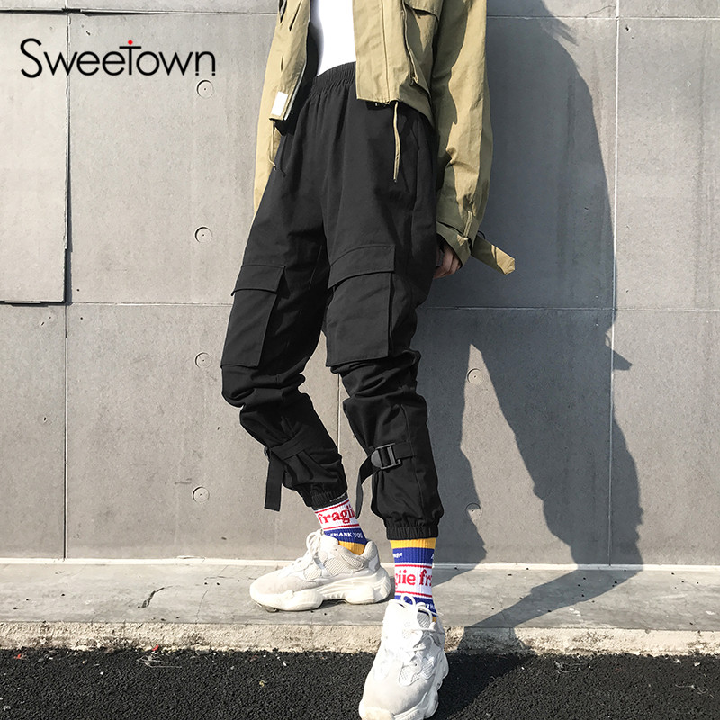 Sweetown Hippie Women Cargo Pants Streetwear Black Cotton Hip Hop Pantalon Femme Sweatpants Pockets High Waist Pants Joggers