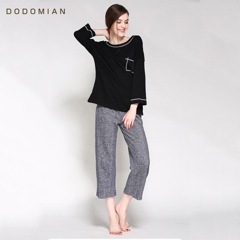 Women's Sleepwear Sets Women Solid Cotton 2 Pieces Set Long Sleeve Top + Pants Elastic Waist Cotton Home Wear Sleepwear