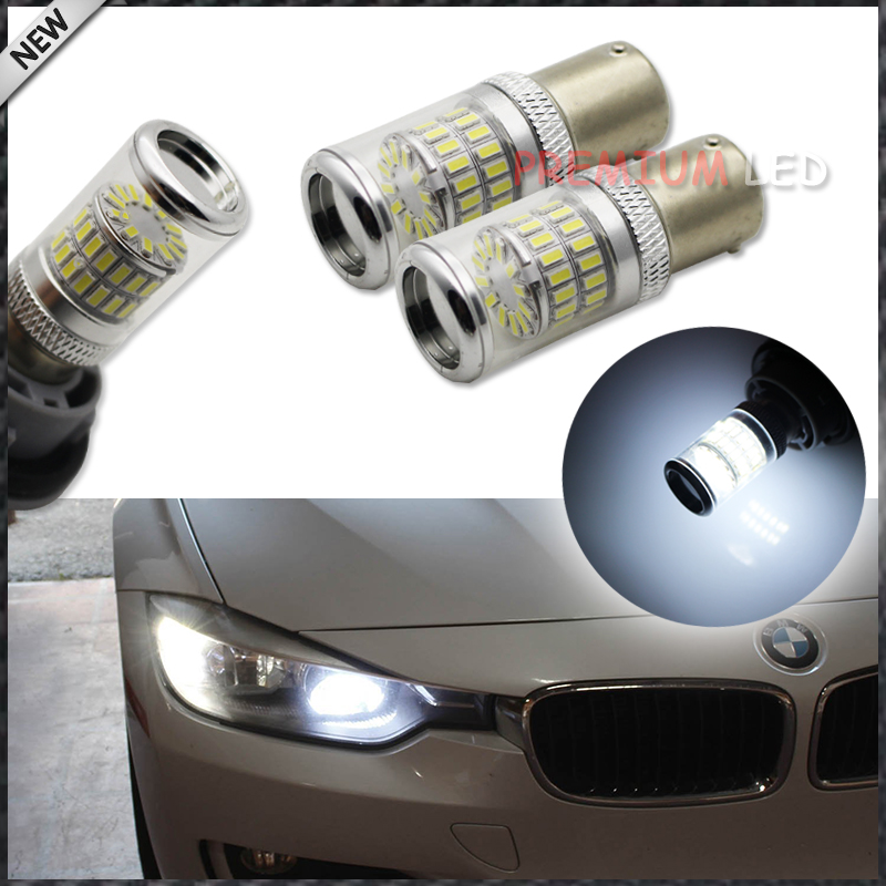 2pcs White 7507 PY21W Canbus LED Replacement Bulbs For BMW F30 F32 3/4 Series Front Turn Signal Lights or Rear Backup Lights ijdm amber yellow error free bau15s 7507 py21w 1156py xbd led bulbs for front turn signal lights bau15s led 12v