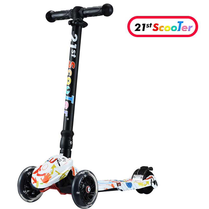 GF06 Children Mini Scooter Kick Scooter With 3 Flashing PU Wheels 3 Files Adjust Height Foot-scooter Camoka