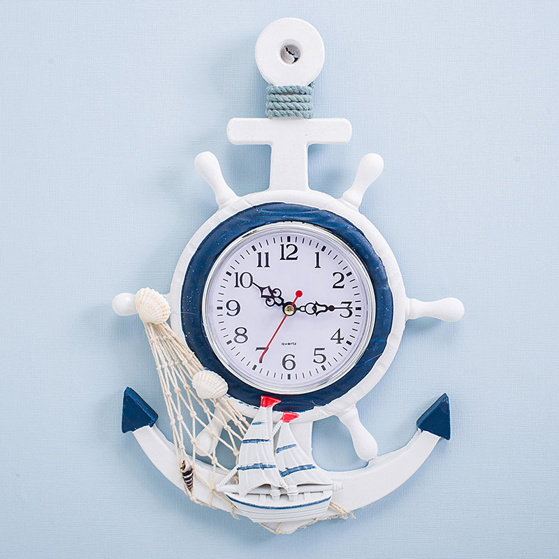 Nordic Style Blue White Rudder Helmsman Anchor Creative Personality Wall Clock Watch Electronic Watch Decorative Sailing Clock