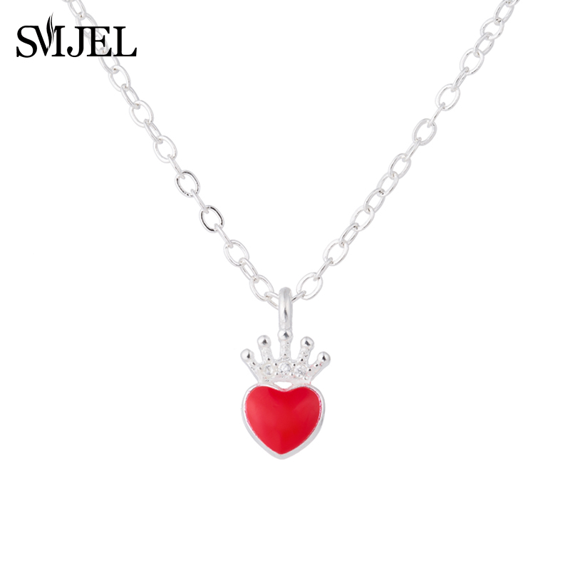 SMJEL Fashion Evie Necklace Descendants Red Heart Crown Necklace Queen of Hearts Costume <font><b>Fan</b></font> <font><b>Jewelry</b></font> Teen Girl Gifts image