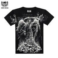 High Quality 2015 New Style Black Men 3D Skull Printing T Shirts Men Brand Fashion Cotton