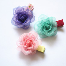 Novelty  Girls Flower Hairpins Gauze Camellia Design Hair Clips Cute Kids Barrettes 30pcs Young Headwear