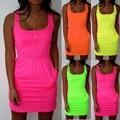 New Arrival Summer Amercia Fashion Women Dress Fluorescent Color Elastic Waist Belt Dress Sexy Sleeveless Dresses 4 Colors