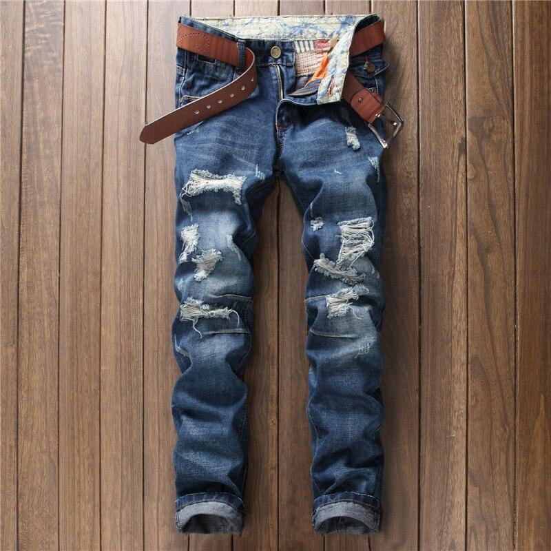 Pantalones Vaqueros Rotos Para Hombre De Estilo Americano 2017 Pantalones Vaqueros Ajustados De Marca De Moda De Lujo Azul Recto Pantalones Vaqueros Ajustados Con Agujeros Para La Calle Para Hombres Men Broken Jeans Brand