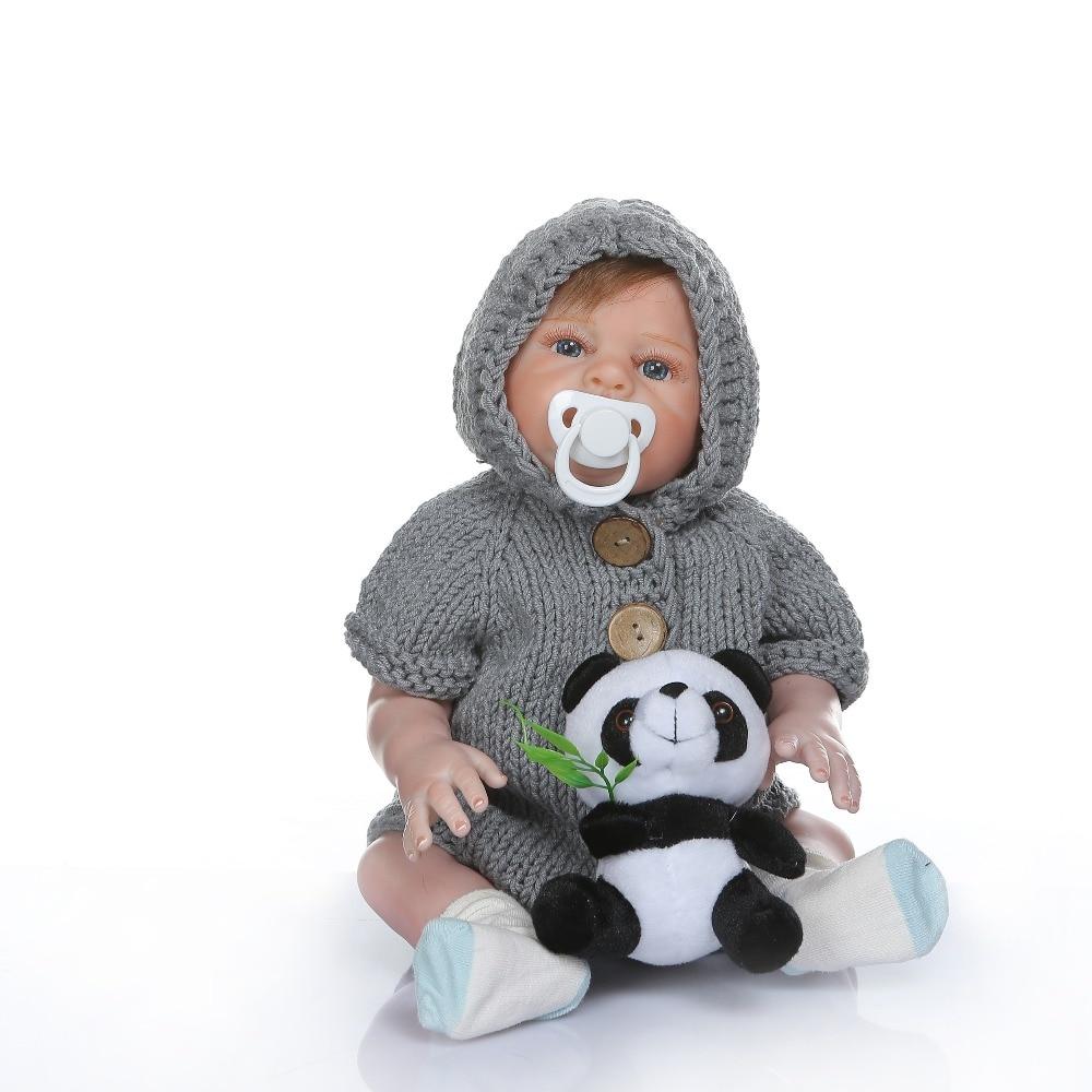 48 CM corps complet silicone reborn bébé garçon poupées pour fille doux au toucher nouveau-né bébés jouet de bain cadeau d'anniversaire main peinture détaillée