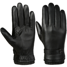 Vbiger Men Leather Gloves Warm Winter Gloves Anti-slip Touch Screen Gloves Windproof Cold Weather Gloves Black