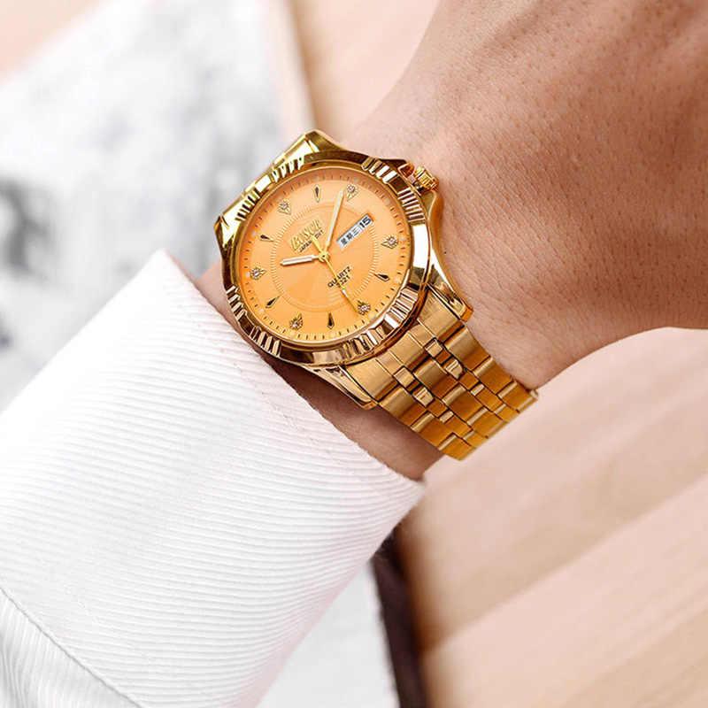 BOSCK Топ Роскошные Кварцевые часы для мужчин картина Золото Нержавеющая сталь часы для мужчин Бизнес золотые наручные часы Мужские часы водонепроницаемый