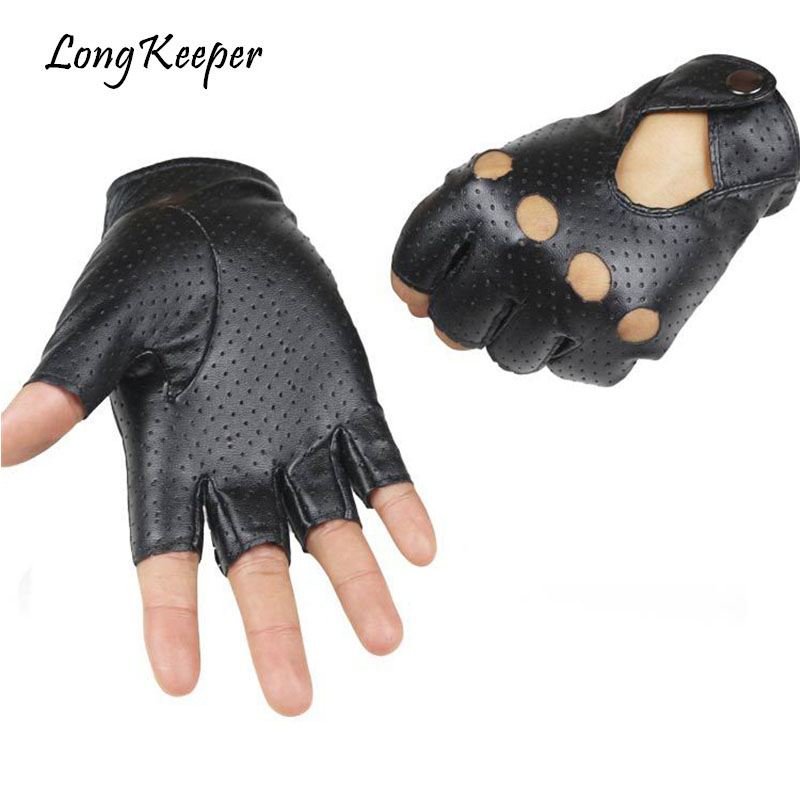 Long Keeper High Quality Men Women Black PU Leather Gloves Half Finger For Driving Show Jazz Breathable Gloves For Women G222