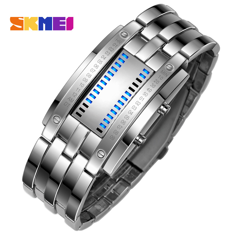 Skmei populares relojes creativos de moda para hombres, pantalla Led Digital, resistente a los golpes, relojes de pulsera para amantes, reloj para hombres - 3