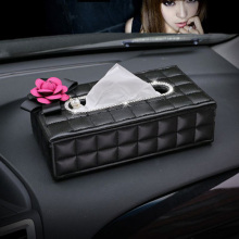 Stylist Elegant Car Tissue Box Holder Flowers Rhinestones