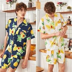 QWEEK/атласная Мужская пижама, наборы 2019, летние комплекты из 2 предметов, Шелковый комплект с принтом, Повседневная Домашняя одежда, мужская