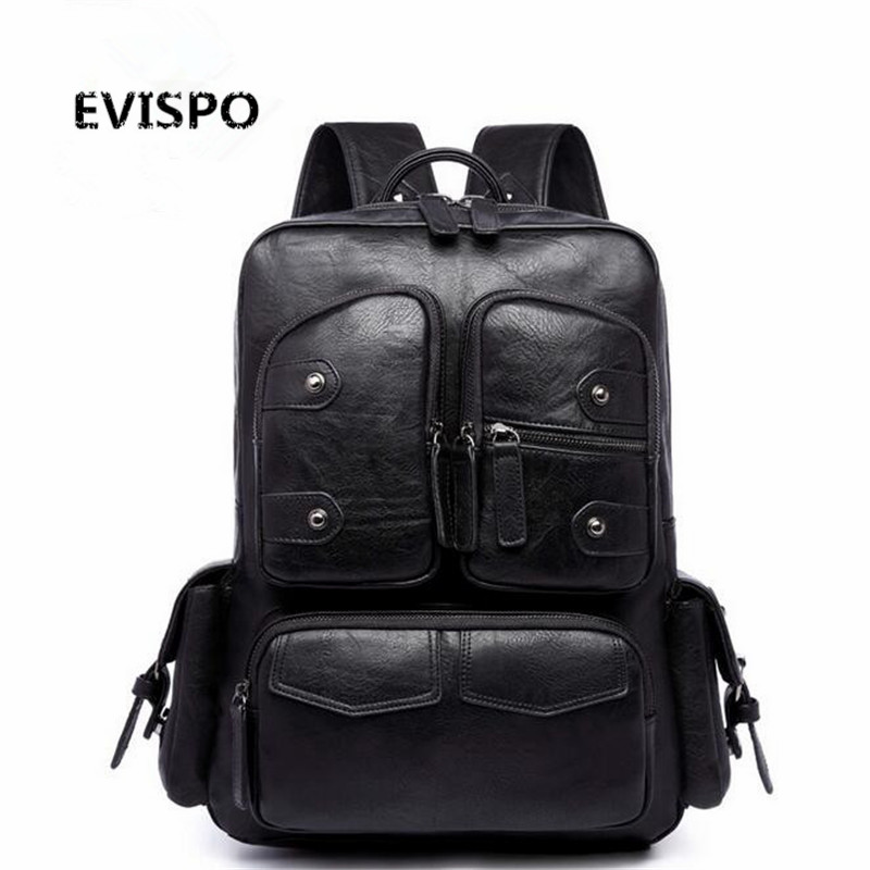 ФОТО 2017 NEW EVISPO PU Leather Backpack Men Travel Bags School Bags Classic Male Backbag Mochila Masculina