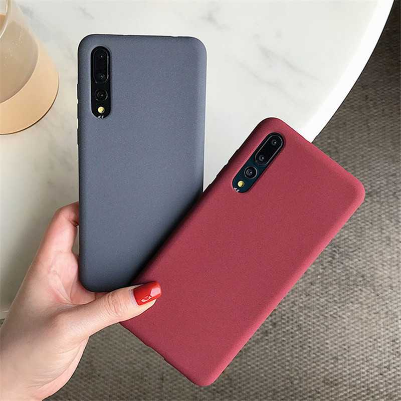 Matte Solid Color Cover Phone Case For Huawei Honor 8X 8A Max 10 Lite P30 P20 Mate 20 Pro Lite 20X Nova 3 3e 3i 4 Soft TPU Capa image