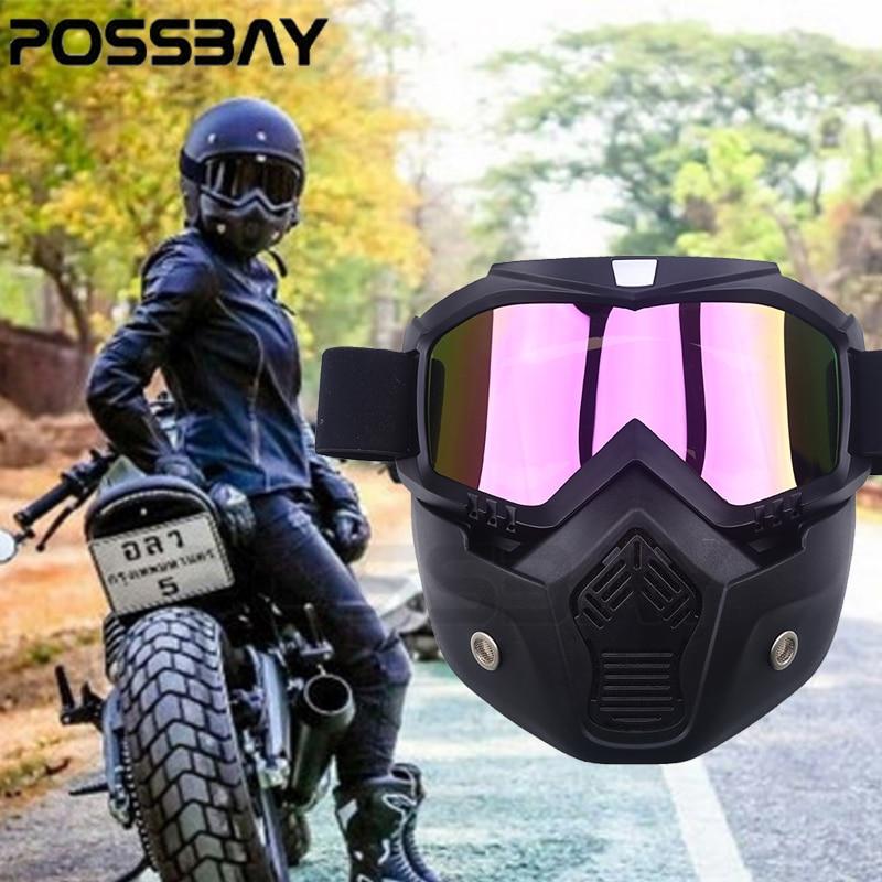 Prix pour POSSBAY Amovible Masque Ski Lunettes Pour Open Face Demi Casque Vintage Moto Hommes Femmes En Plein Air Cyclisme Motocross Lunettes