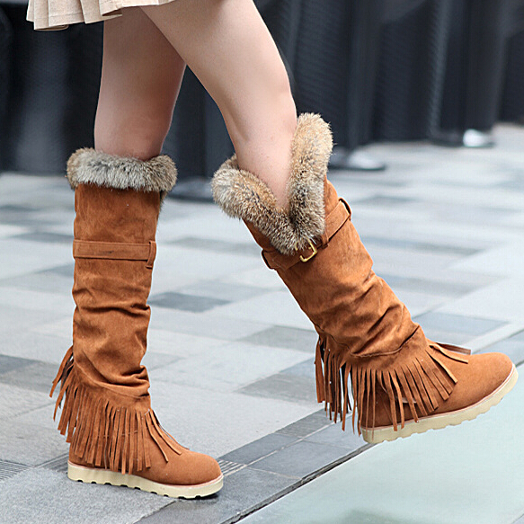 Women Snow Boots Knee High Boots Real Rabbit Fur Tassel Long Boots Buckles Women's Shoes  Flat Warm Winter Shoes Woman PPO047 winter warm snow boots cotton shoes flat heels knee high boots women boots wholesale high quality
