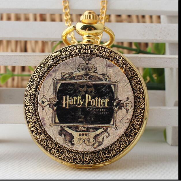 Harry potter hogwarts school Gold antique quartz pendant Modern hours steampunk
