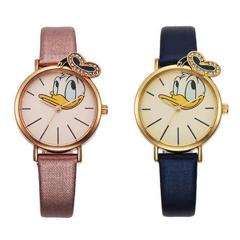 דיסני מותג מקורי קריקטורה דונלד ברווז ילדי בני בנות שעונים עור קוורץ תלמידי אופנה שעונים עמיד למים אריזת מתנה