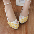 100% cotton handmade Flower Wedding Shoes bride and bridesmaids Low-heeled Shoes White flat performance Shoes Female