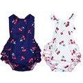100% Хлопок Baby Girl Rompers + Повязки Рукавов Вишневый Печати Малышей Одежда для Новорожденных Новорожденный Комбинезон Летнее Платье