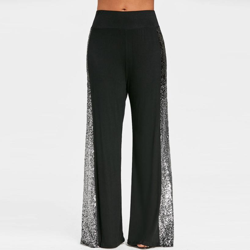 MIARHB Summer NEW Fashion Womens Casual   Wide     Leg     Pants   Gradient Sequins Insert Maxi Loose Mid Trousers Wholesale Freeship N4