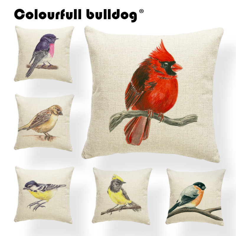 Animal Bird Cushion Cover Puffin Hornbill Pillow Anime Lounger Chair Nap Mat Pillow With Cover Robin Small Cotton Linen Custom