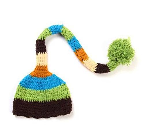ca8da7dd0a5 Christmas Hat Newborn Pixie Elf Long Tail Striped Christmas Beanies Cap  Handmade Crochet Knit Photography Props 8 Colors