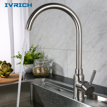 IVRICH SUS304 Stainless Steel Kitchen Faucet Gooseneck Style Wide Spread Watering Water-Saving Soft Bubble Generator VR402