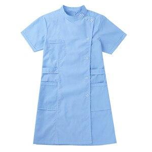 Image 3 - Womens Dress Korte Mouwen Opstaande Kraag Schuine Knop Front Jas Vrouwelijke Femme Uniform Jurk