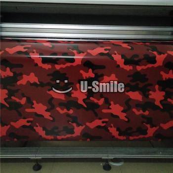 Tiger Red Camouflage Car Vinyl Wrap Film Bubble Free For Car Styling