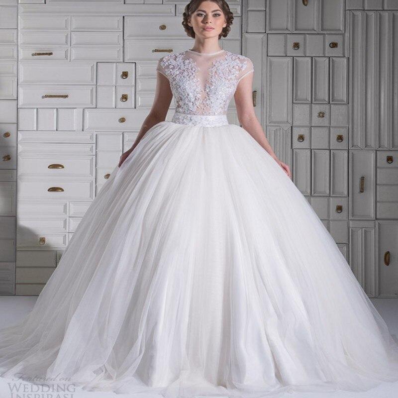 2015 Stunning New Cap Sleeves Ball Gown Wedding Dress