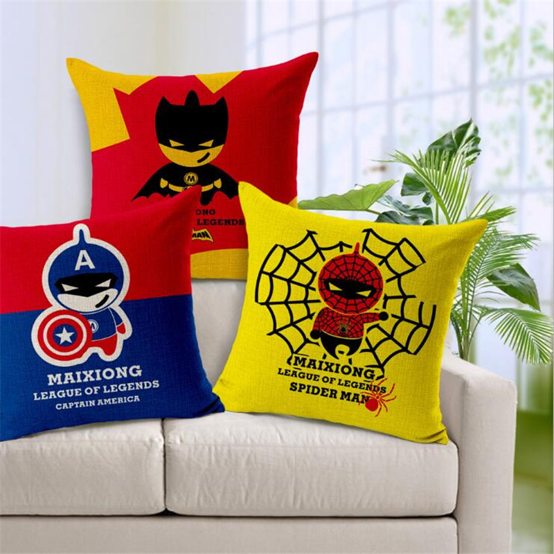 Square 18 Super Decorative Cartoon Marvel Heroes Cushion Cover Pillow Case Mosaics The Avengers Pillow Customized Drop Shipping
