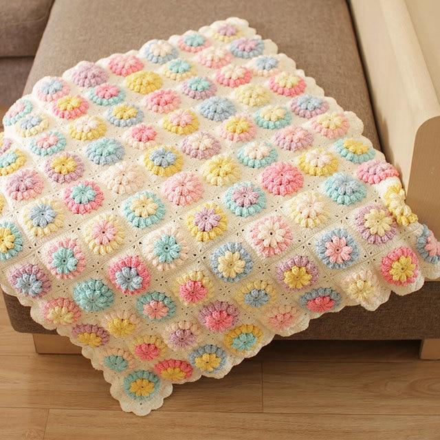 Handgemachte Decken Vintage Häkeln Granny Quadratrechteck Gewinde