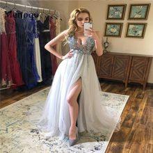 afc9ddede25b6 V Boyun Sparkly balo kıyafetleri 2019 Backless Akşam Parti Elbise See  Through Zarif Seksi Yüksek Bölünmüş