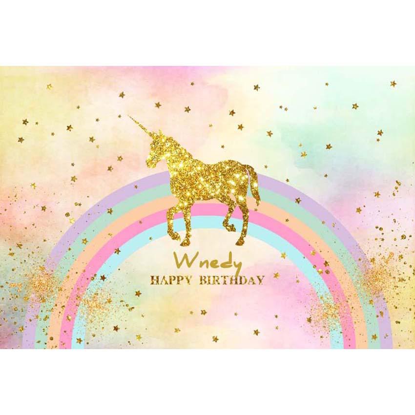 Golden Glitter Unicorn Rainbow Backdrop 10x6.5 Polyester Pastel Pink Candy Colour Chevron Stripes Edge Photography Background Kids Child Baby Birthday Party Shoot Dessert Table Banner Cake Smash