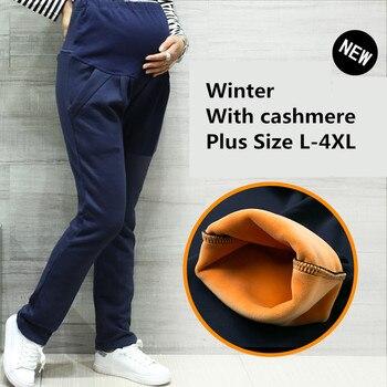 Winter Maternity Leggings Thicken Velvet Pregnancy clothes Cotton maternity pants for pregnant women warm clothing plus size